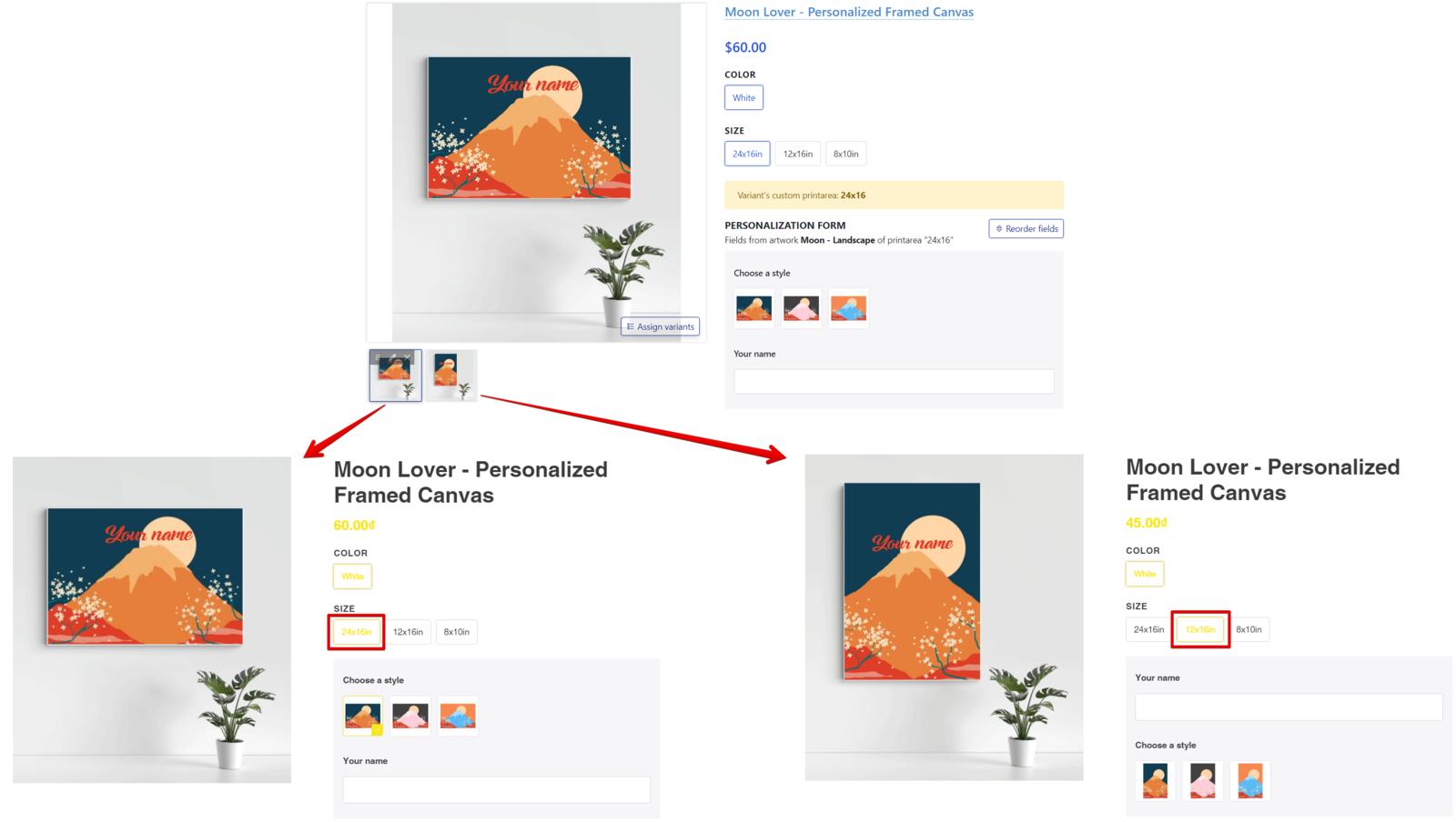 Chỉ hiển thị mockup sử dụng artwork tương ứng với variant được chọn