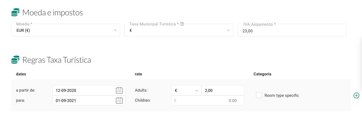 Configuração da Taxa Turística