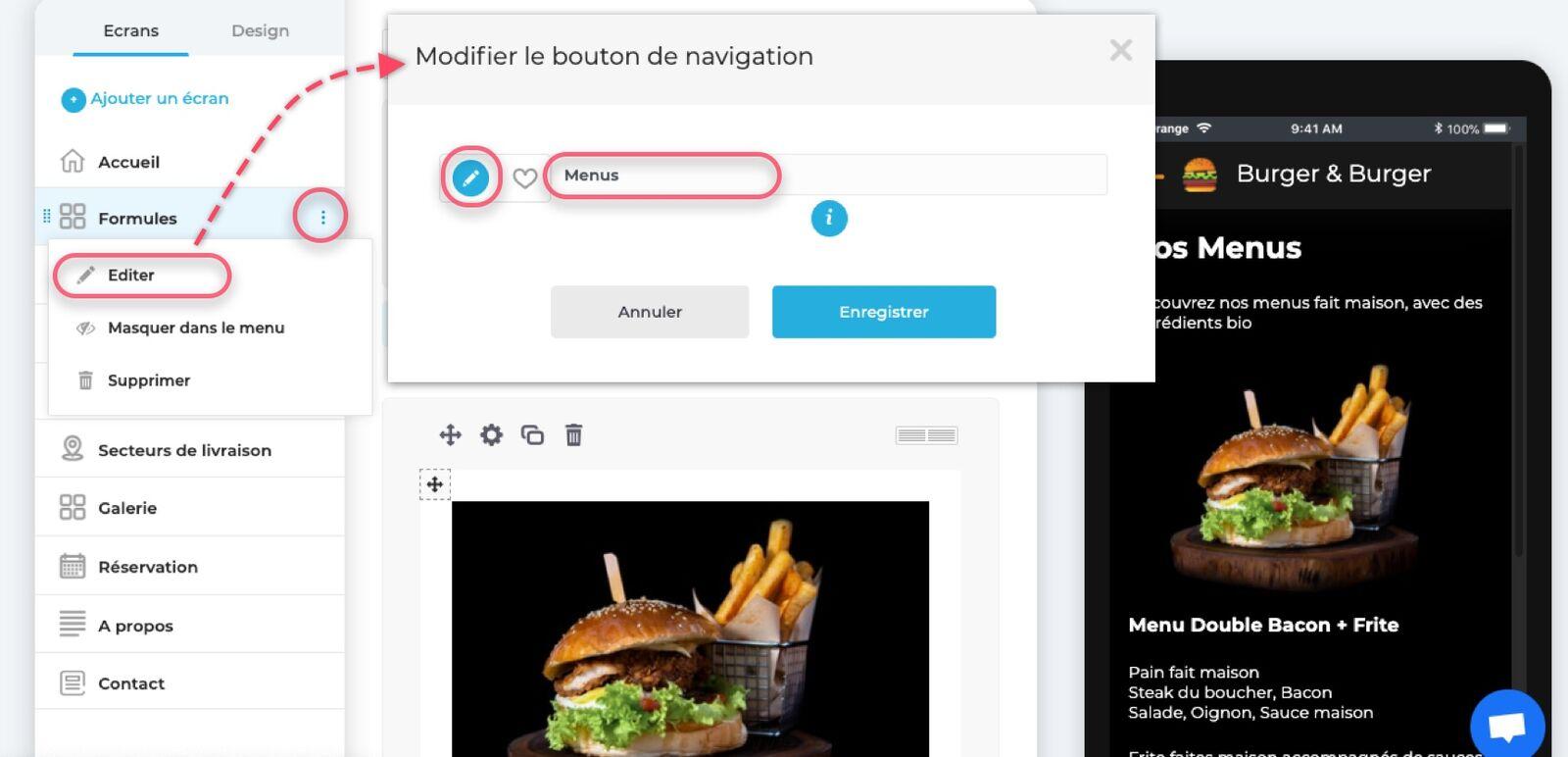 Modifier le nom et l'icône de votre écran