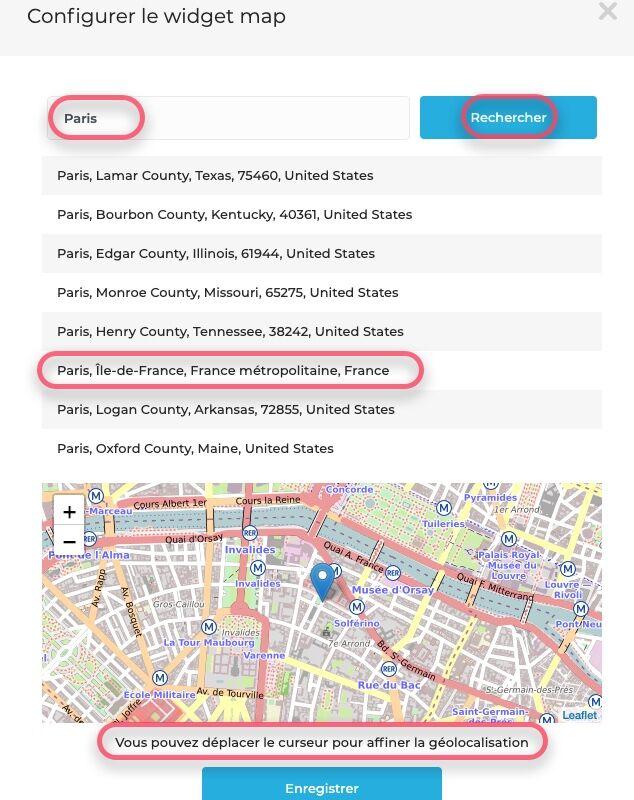 Configurer Gmap