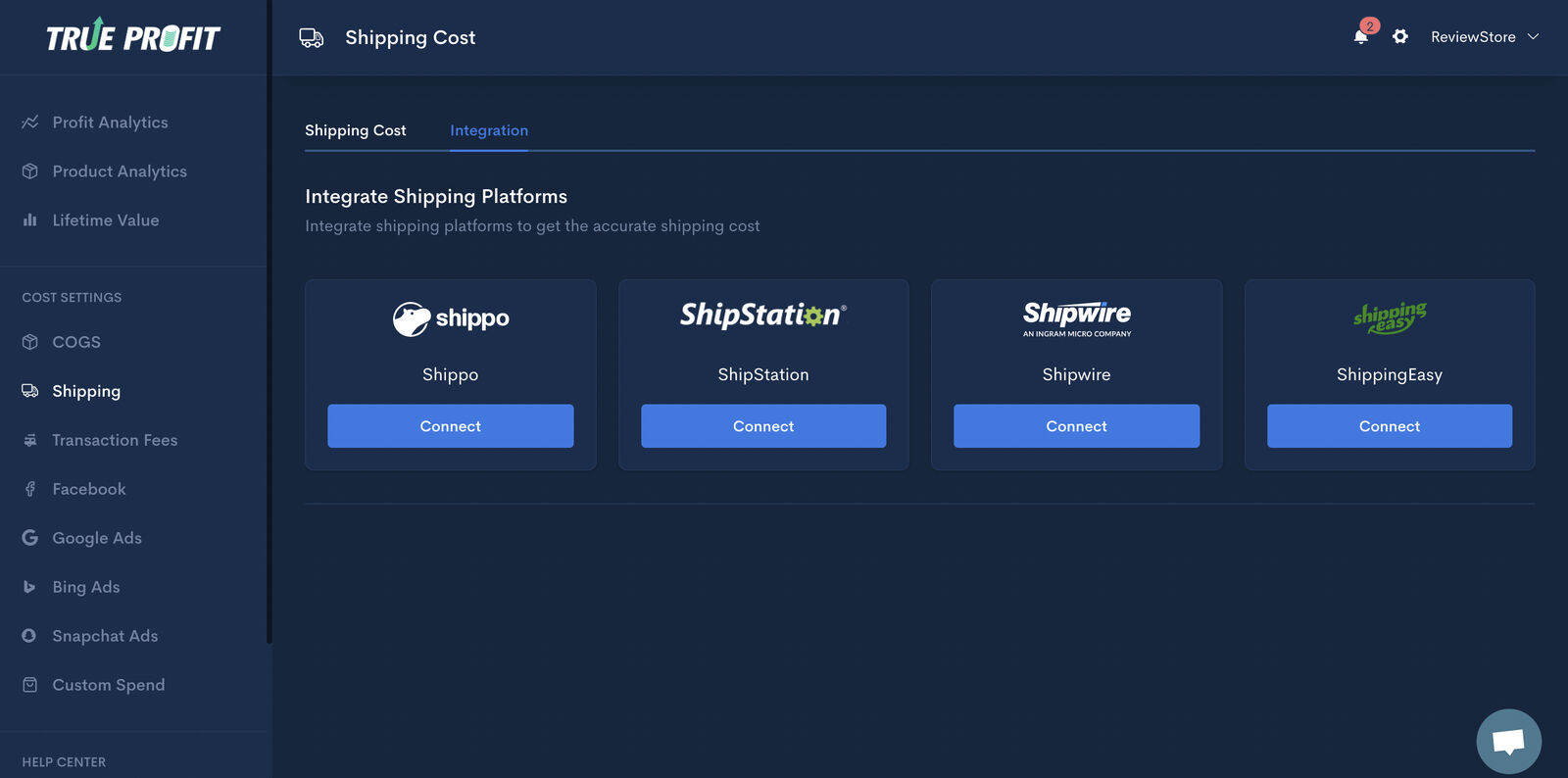 The four most prevalent shipping softwares available on TrueProfit