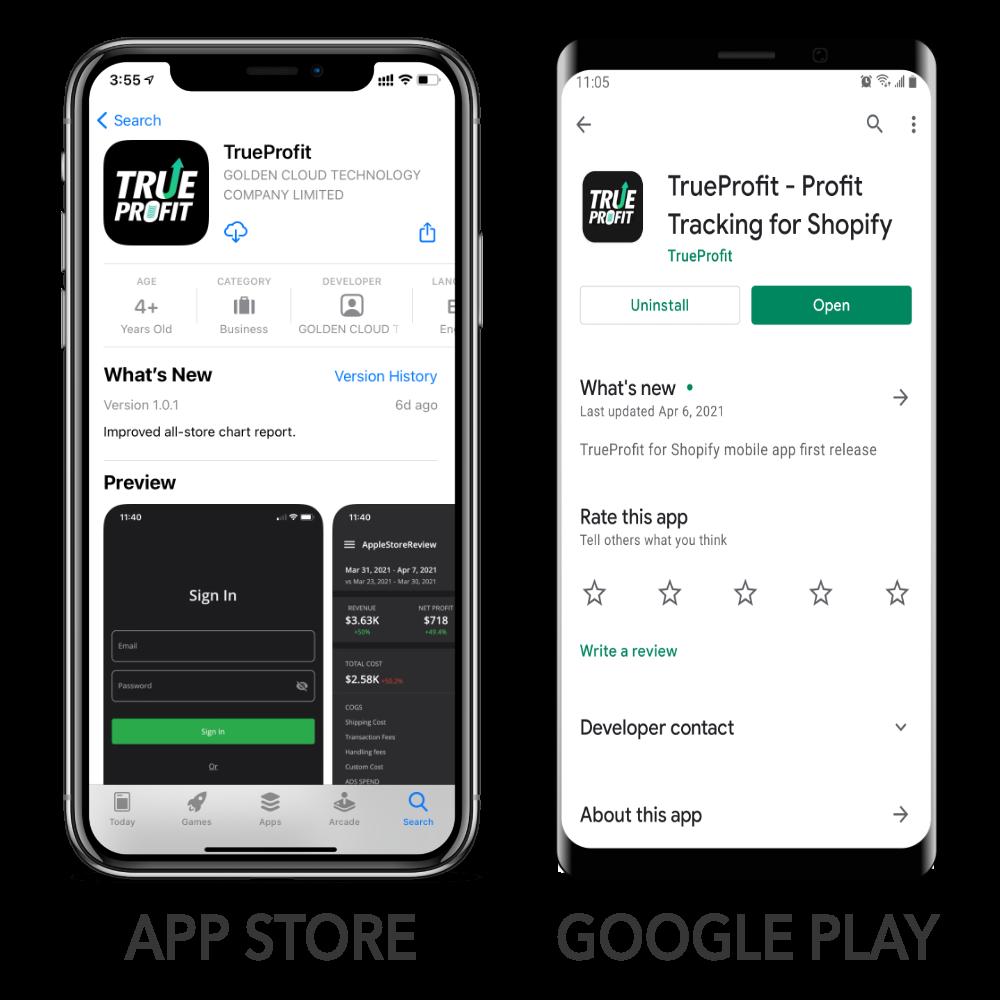 TrueProfit App on Apple App Store (Left) and Google Play Store (Right)