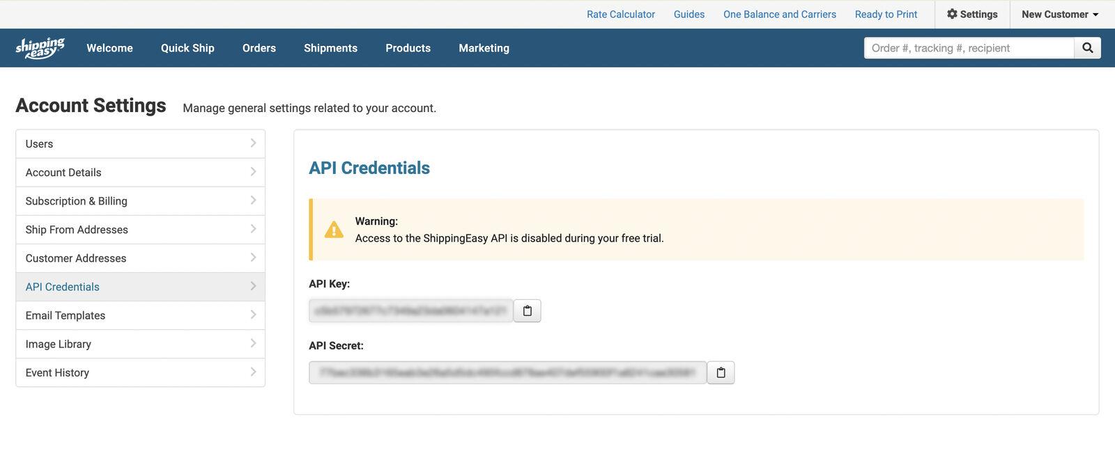 Getting the API Keys on ShippingEasy
