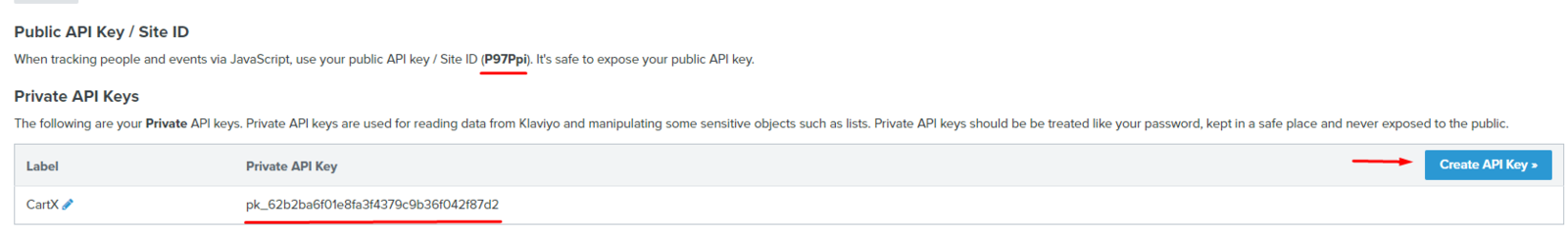 The first field is the Public Key. The second one is the Private Key.