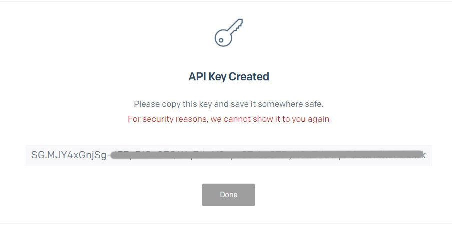 Copie la clave en un lugar seguro