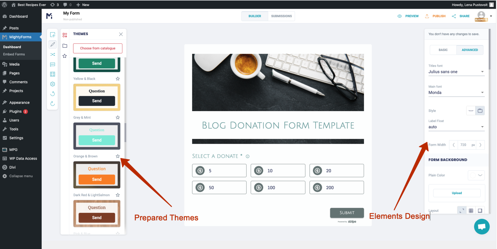Customize Form Output with Design Tab