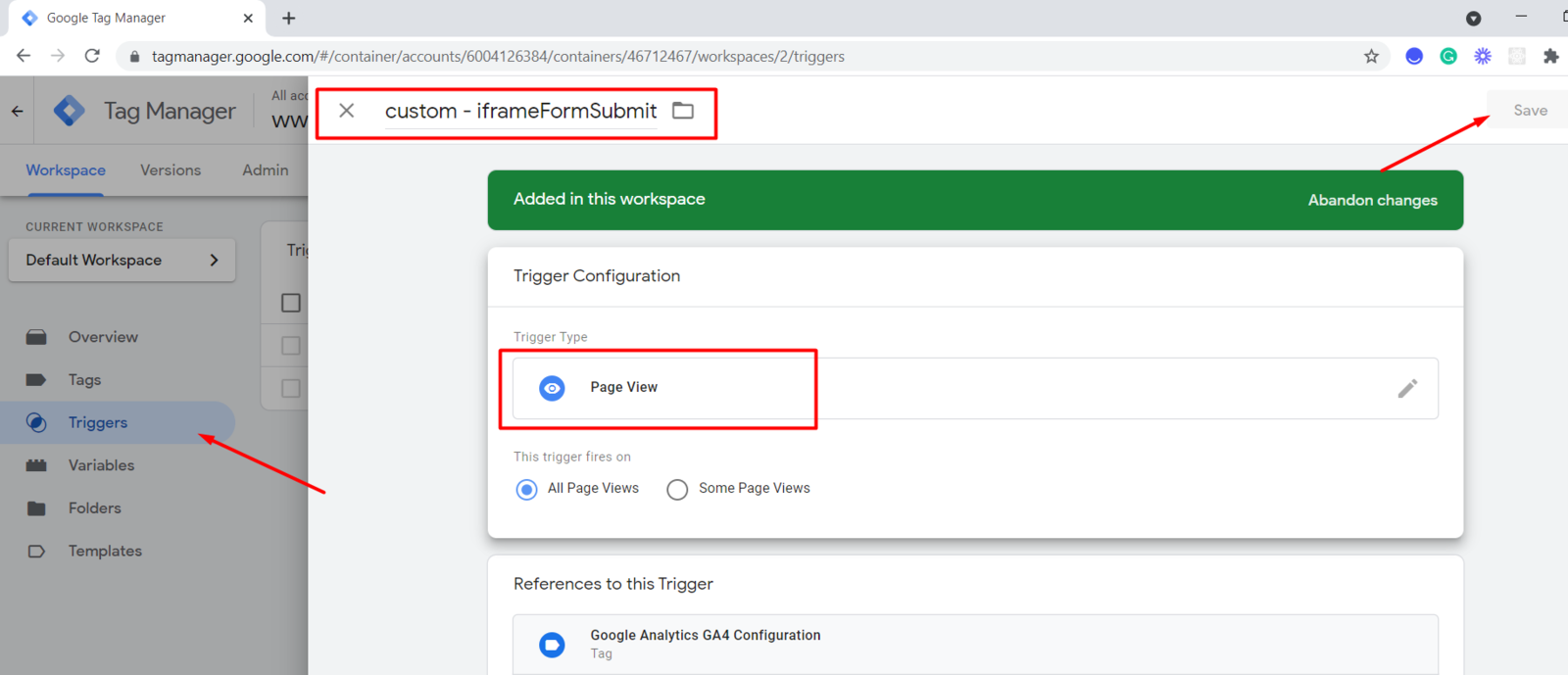 Create new Page View type trigger