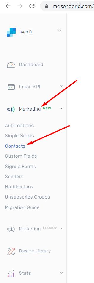 Lista de contactos de SendGrid