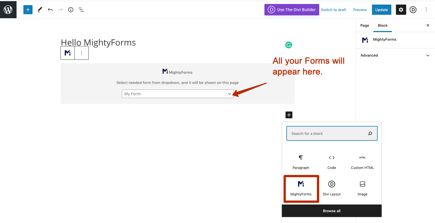 Select needed form via the list in MightyForms Widget
