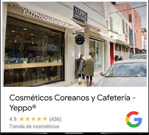 Ficha de la tienda Yeppo en Google