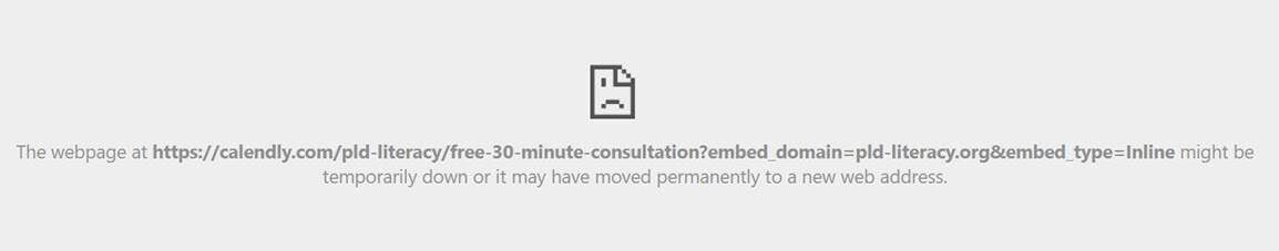 If you see an error message like this, your school/network is blocking the Calendly service