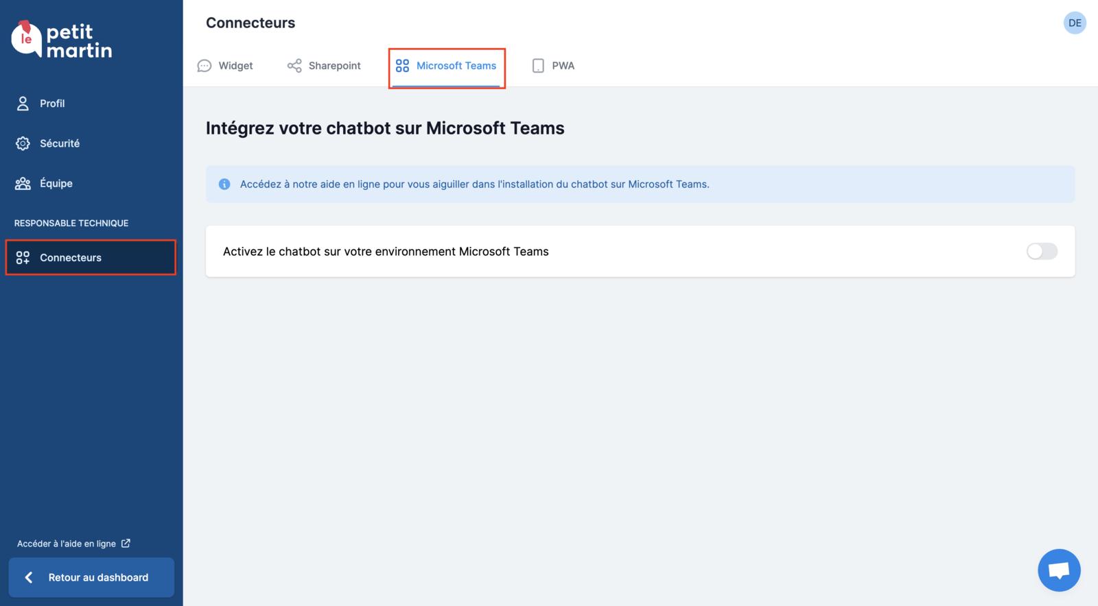 Accéder aux paramètres du connecteur Microsoft Teams