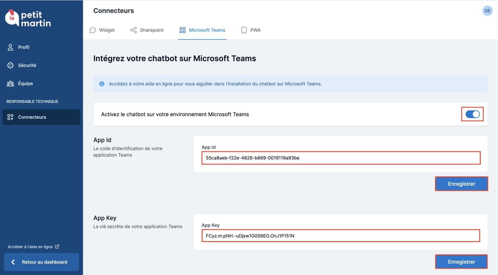 Saisie des données d'identification du connecteur Microsoft Teams