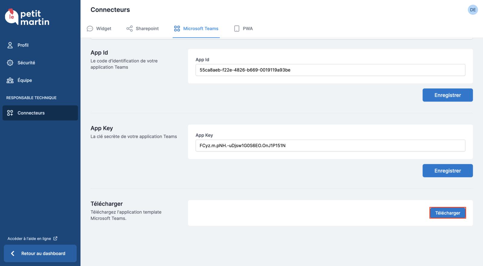 Téléchargement de l'application template Microsoft Teams