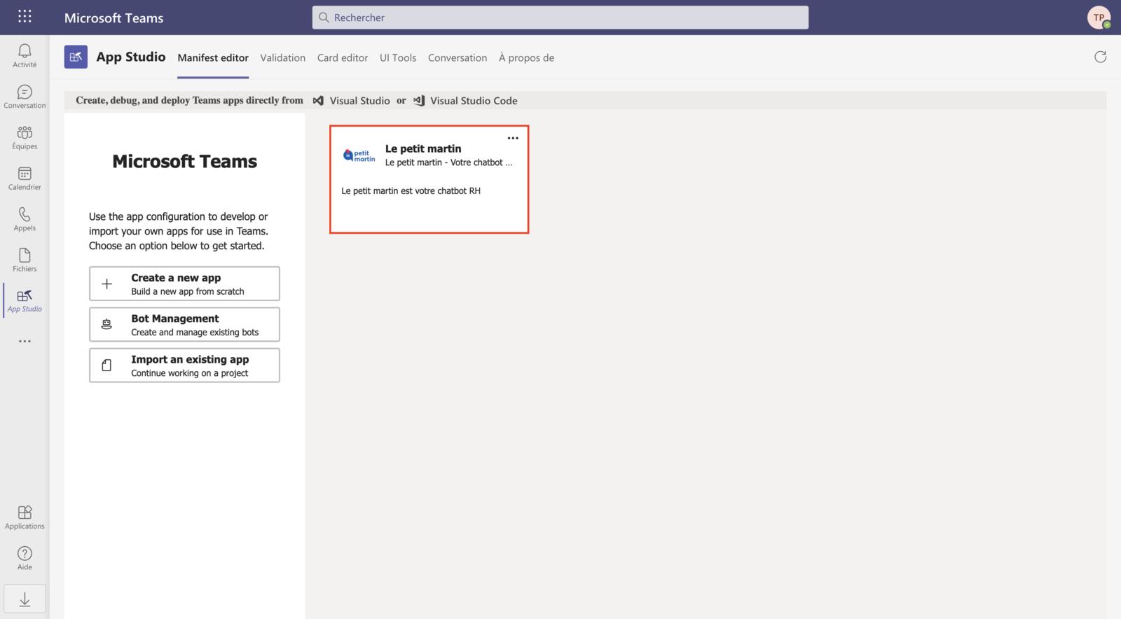 Accès aux paramètres de l'application Microsoft Teams