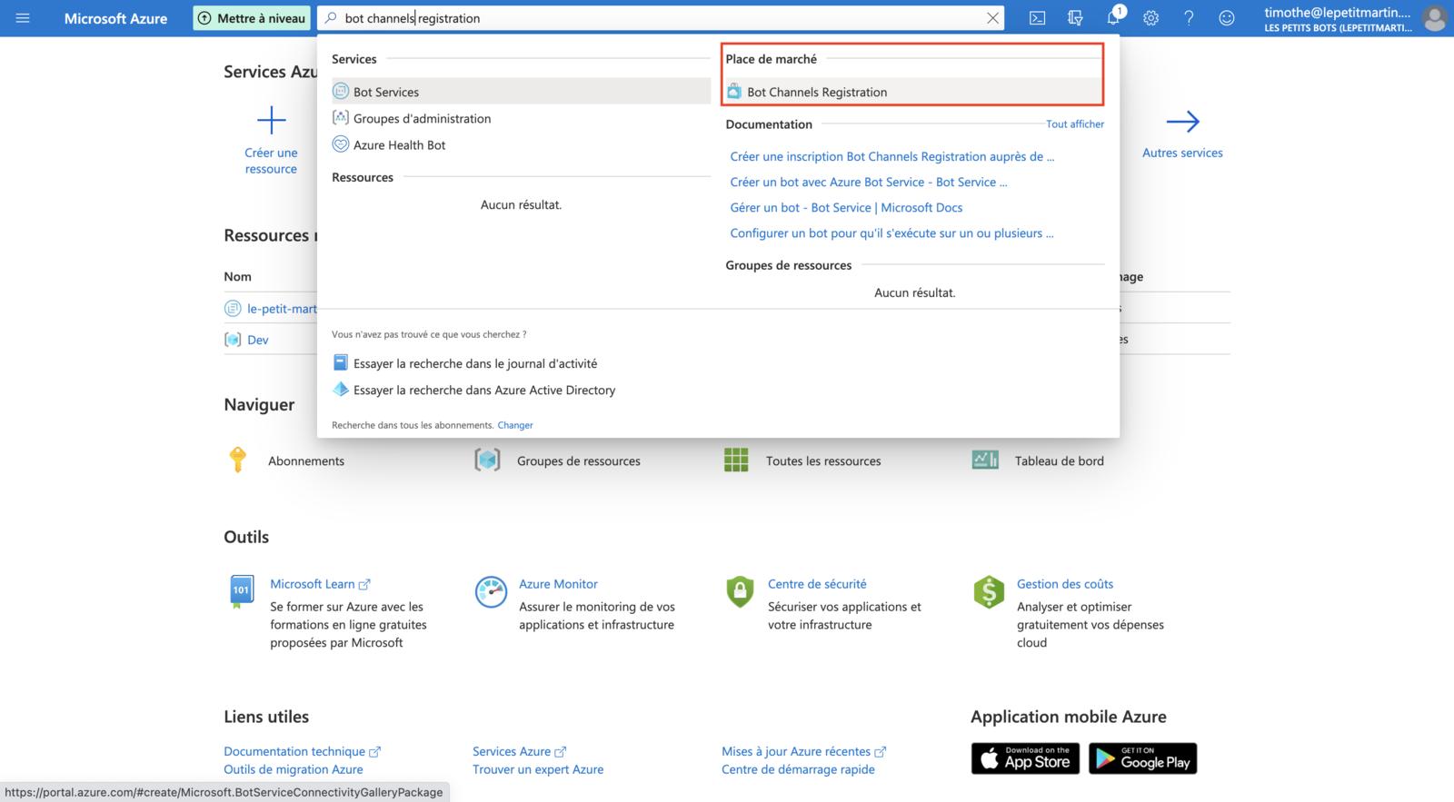 Accès à la création du chatbot sur Microsoft Azure