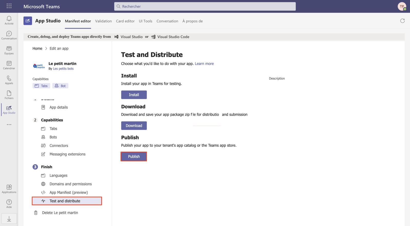 Publication de l'application dans l'app catalog (1)