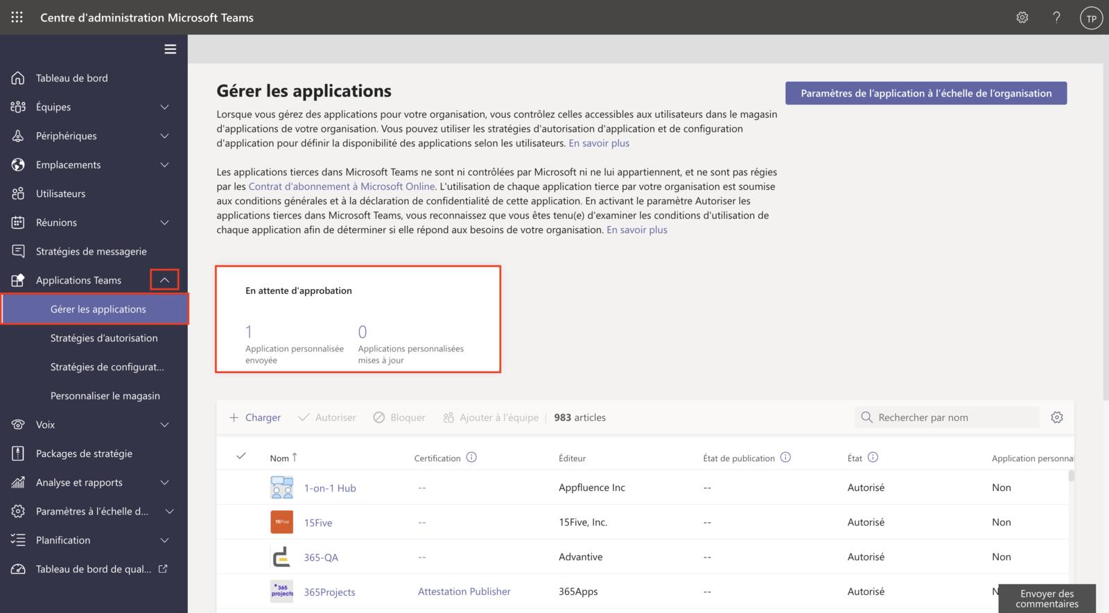 Approbation de l'application (1)
