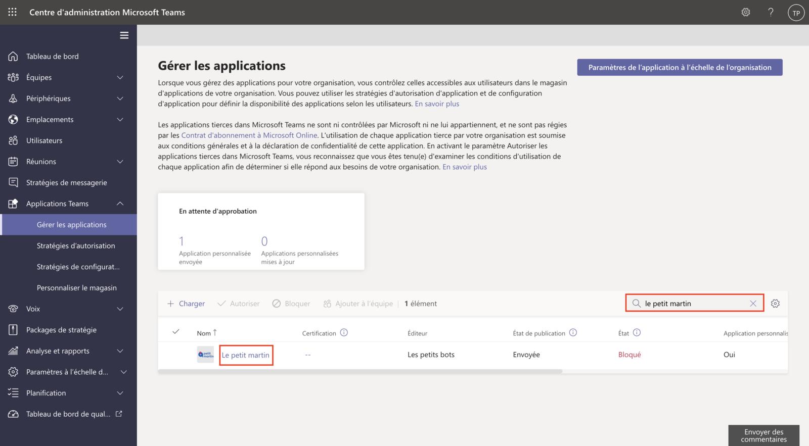 Approbation de l'application (2)