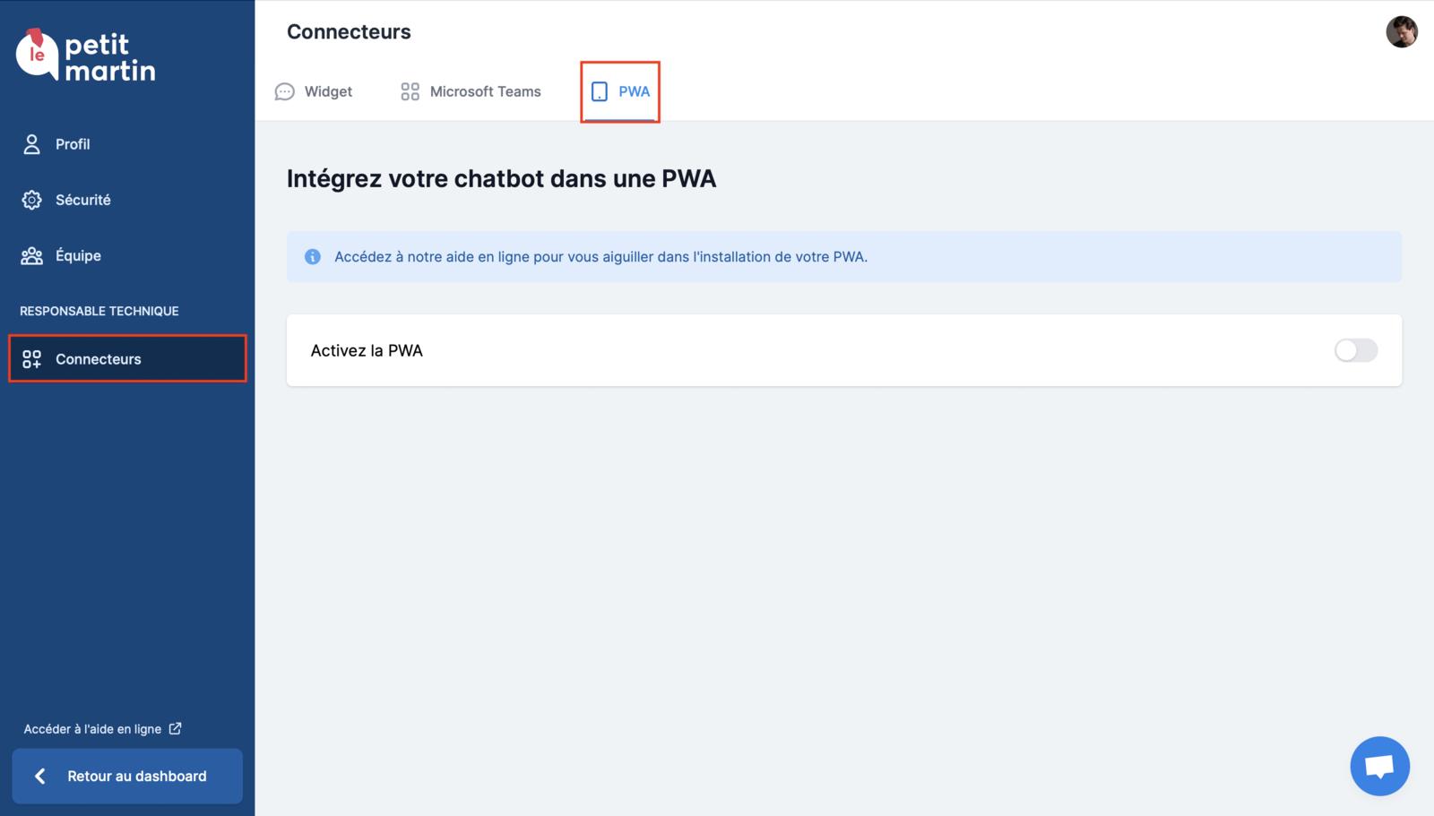 Accès à la page de configuration de la PWA