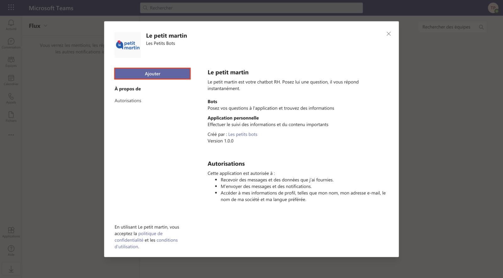 Ajout de l'application à l'espace utilisateur (2)