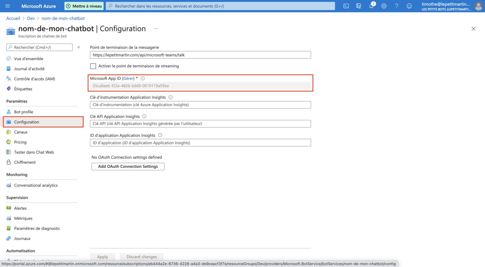 Récupération de la valeur Microsoft App ID