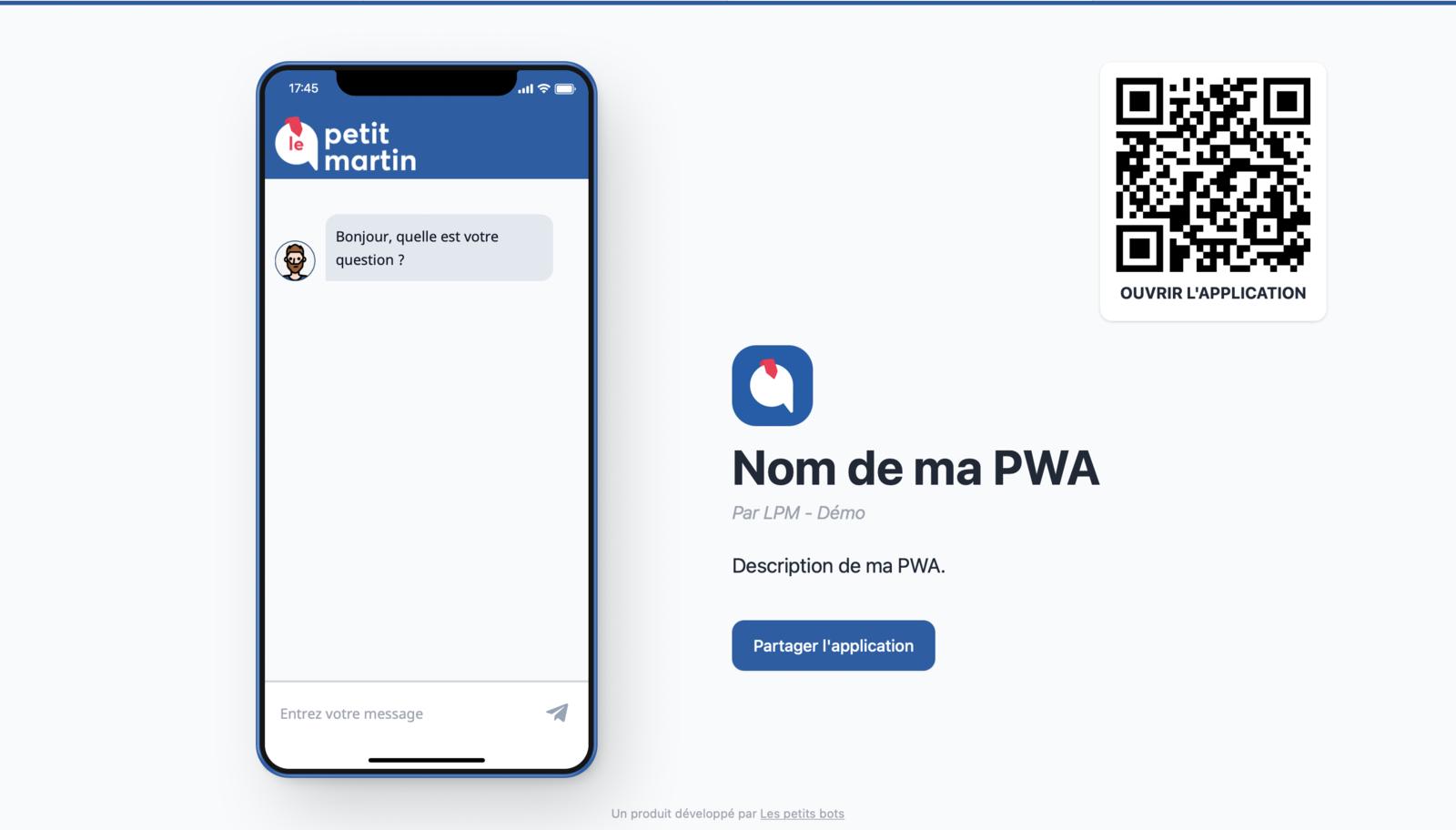 Visualisation de la page PWA sur ordinateur