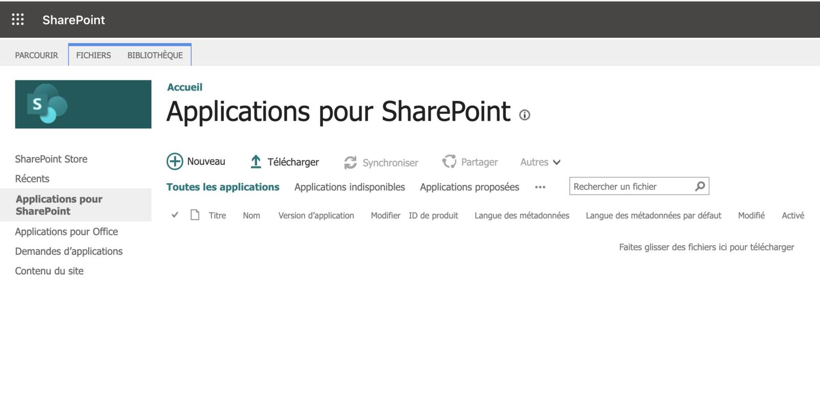 Catalogue d'application Sharepoint