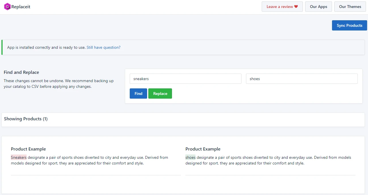 Find and replace words / characters in Shopify product descriptions