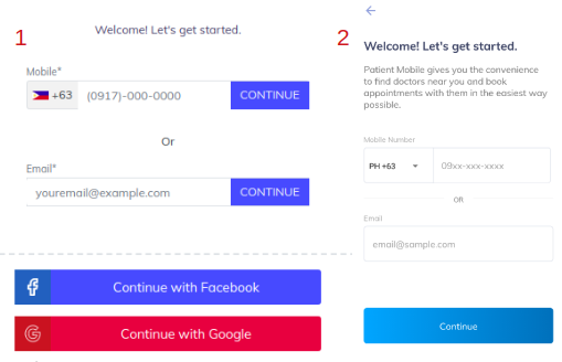 Login page for web browsers (1) and mobile devices (2)