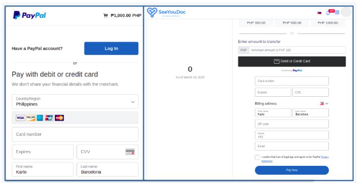 PayPal popup window (left), Payment via Credit/Debit card (right)