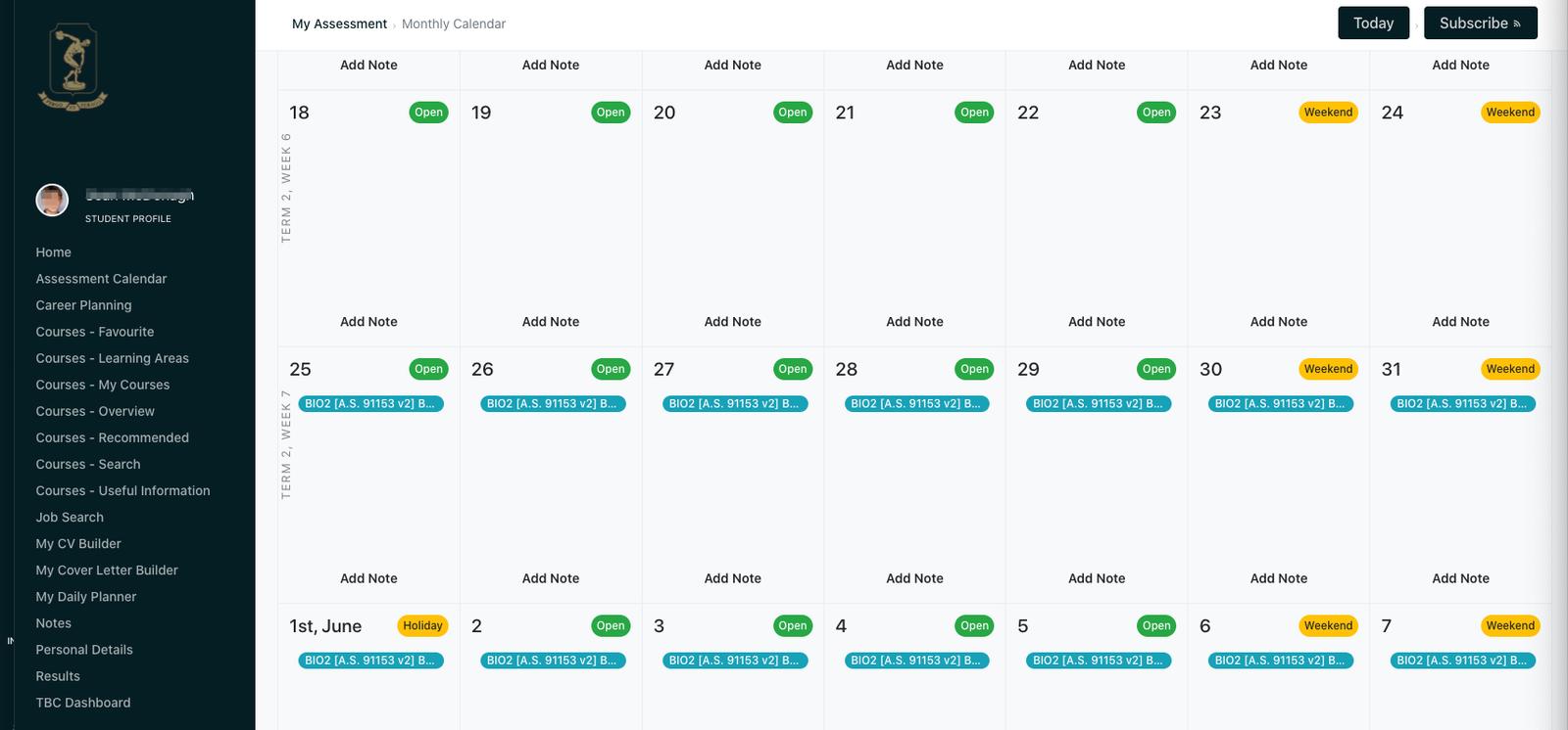 Student View of Assessment Calendar