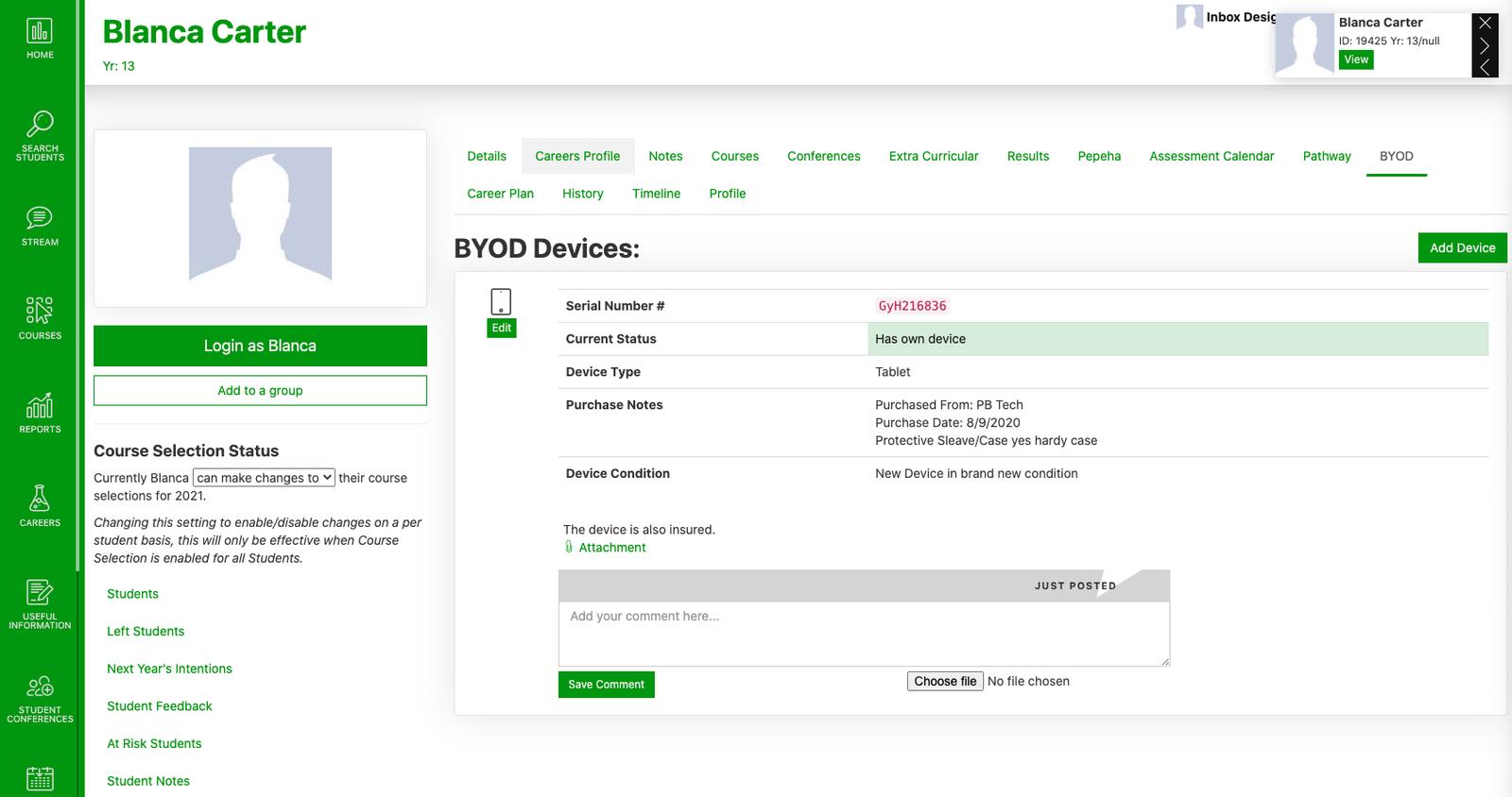 BYOD Admin View