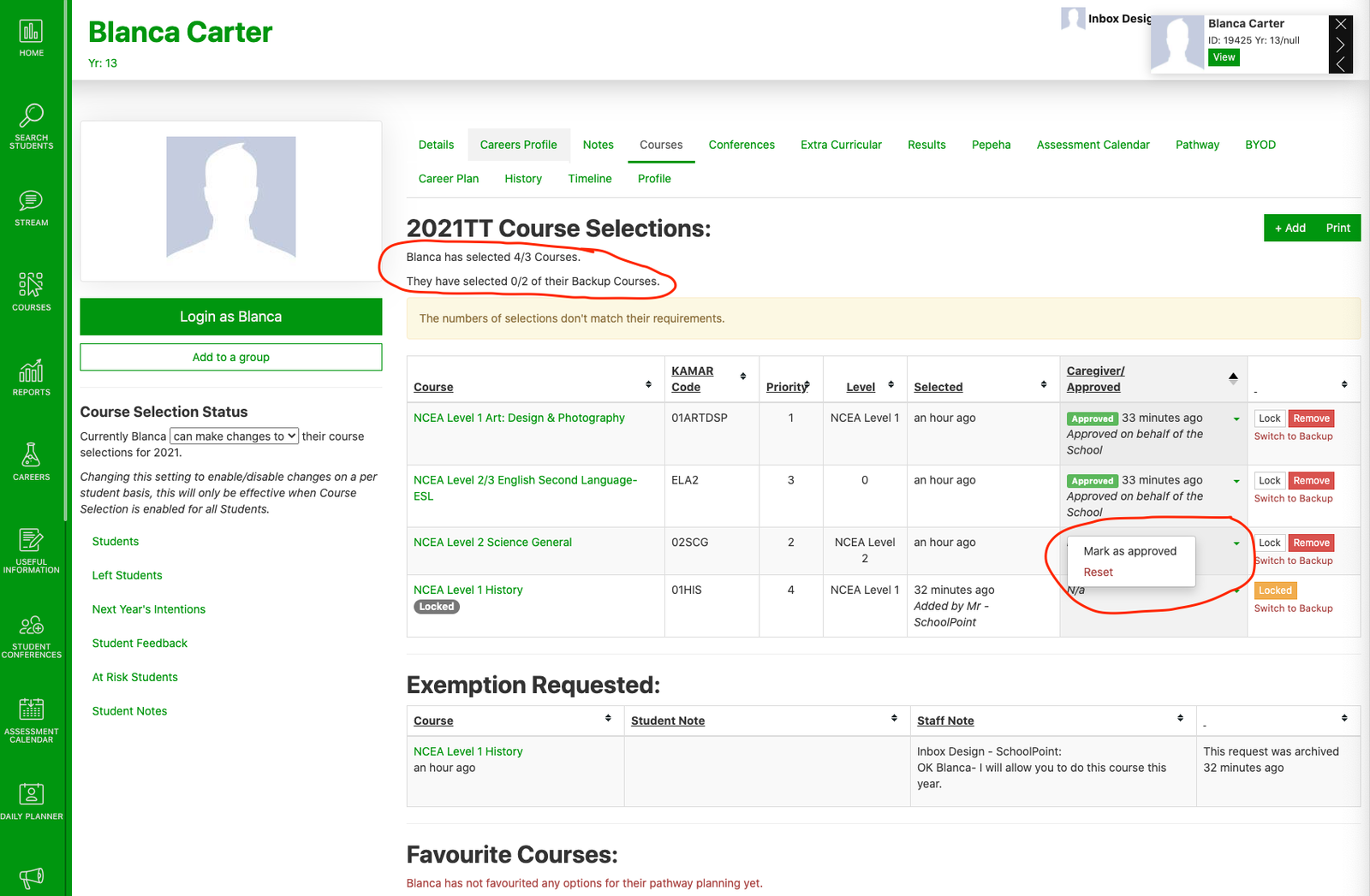 Courses- Admin View