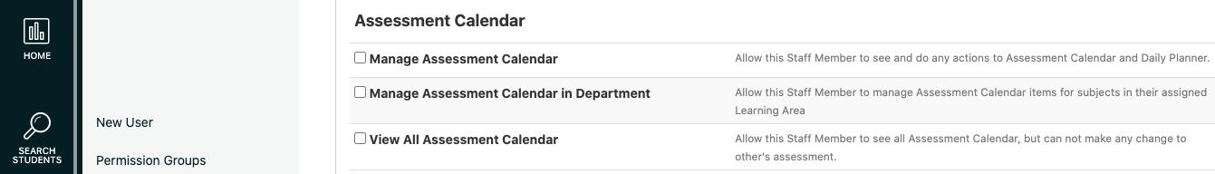 Assessment Calendar Permissions