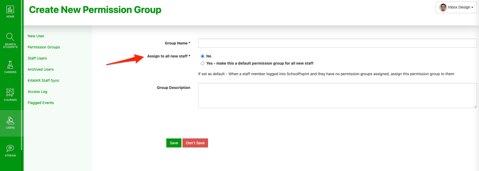 Assign default permissions to all new staff