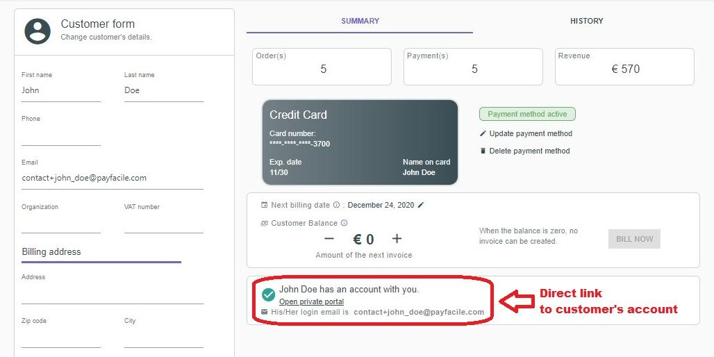 Direct link to the customer's customer account