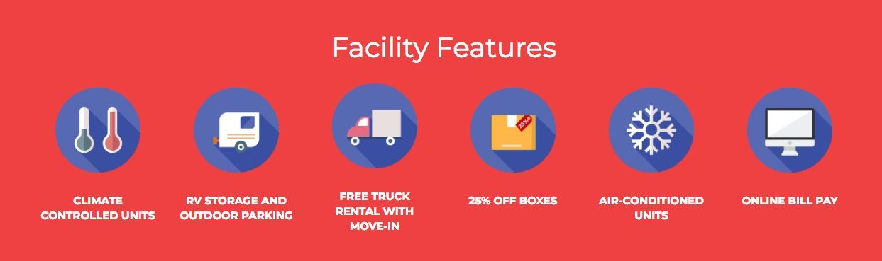 The facility feature icons on Ray Self Storage's website. These icons are able to engage web visitors without them reading.