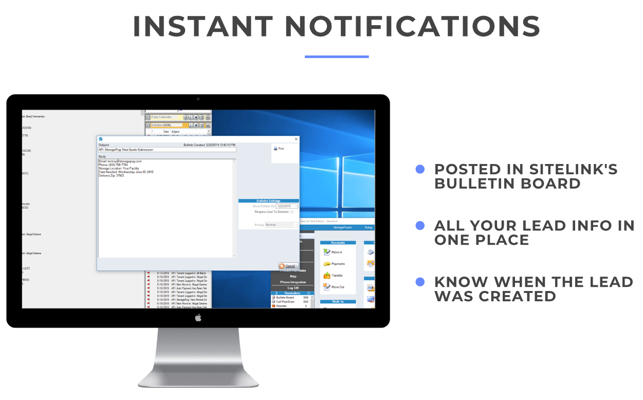 Instant Lead Notifications Inside SiteLink
