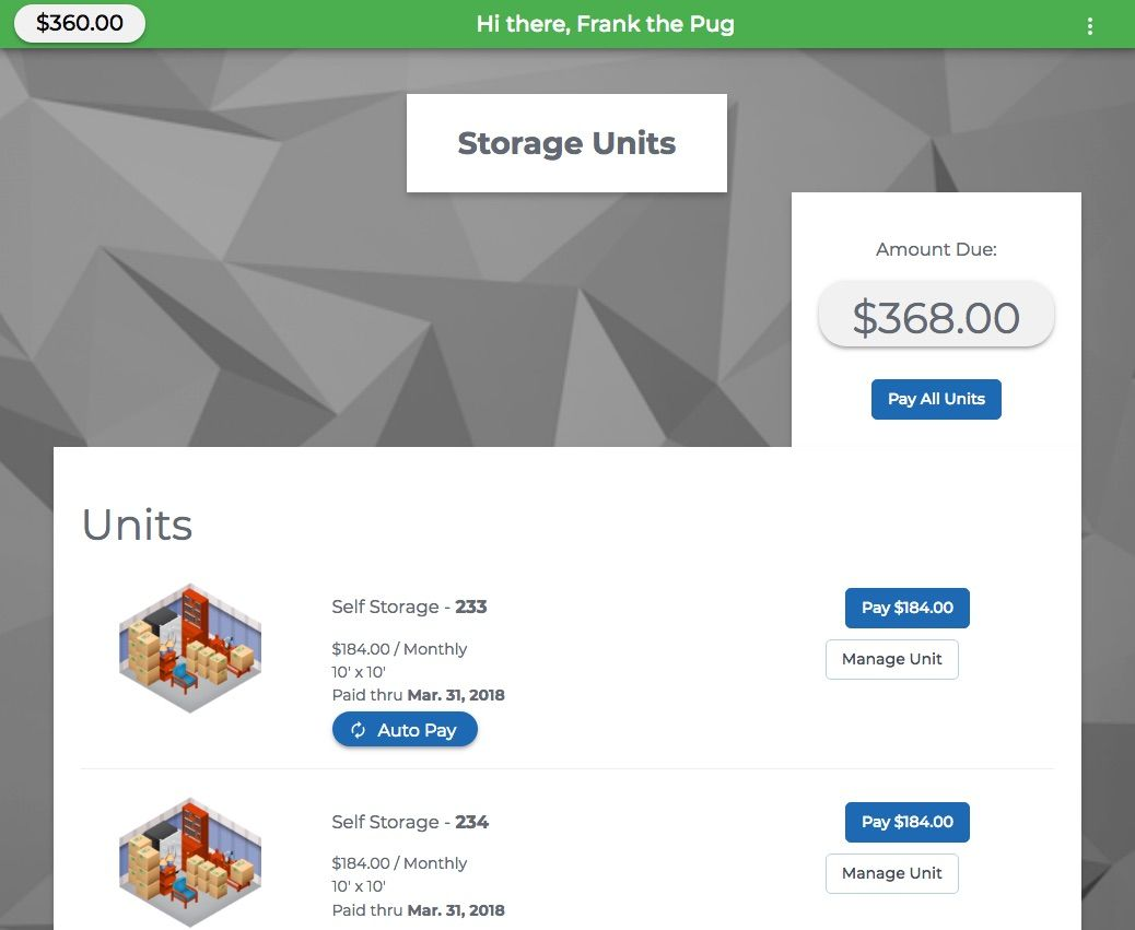 Self Storage Payment Portal built by Storage Pug