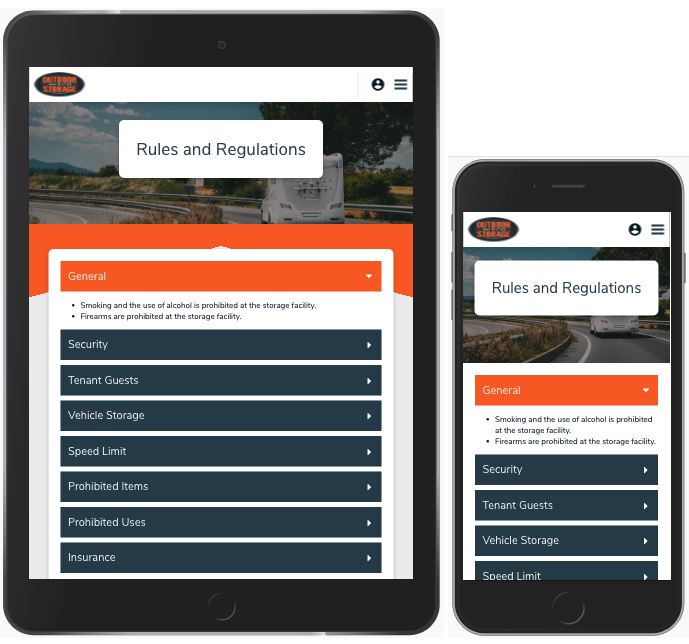 Mobile Responsive Information Page - Tablet and Smartphone