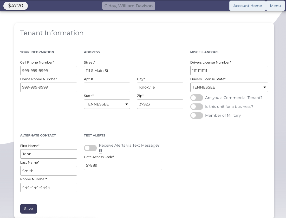 Customers Can Update Their Accounts Online - StoragePug Customer Portal