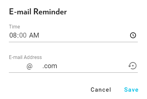 Interface of the 'Email Reminder' feature