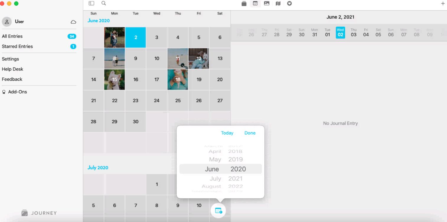 Journey Mac Infinite Scroll Calendar