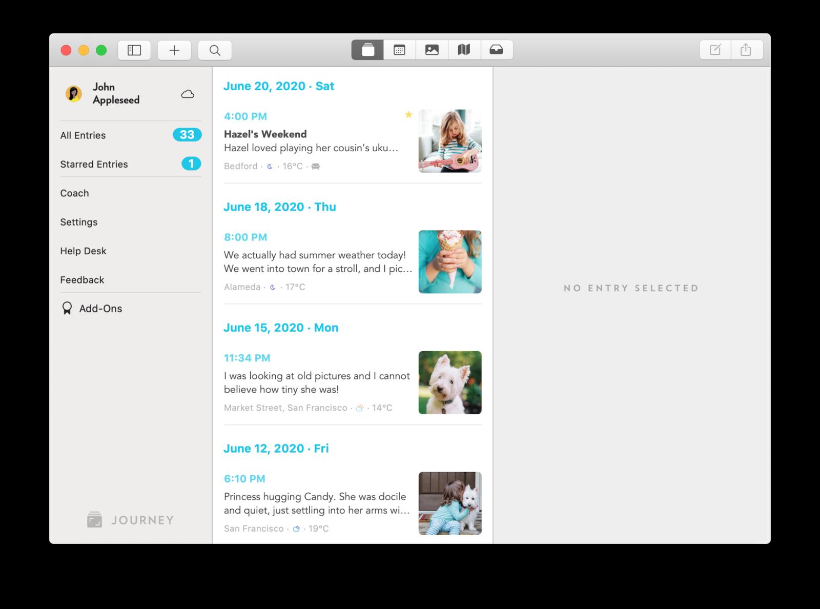 Journey Mac Main Interface