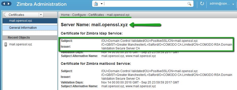 Instalación de certificado SSL / TLS utilizando la Consola de Administración Zimbra