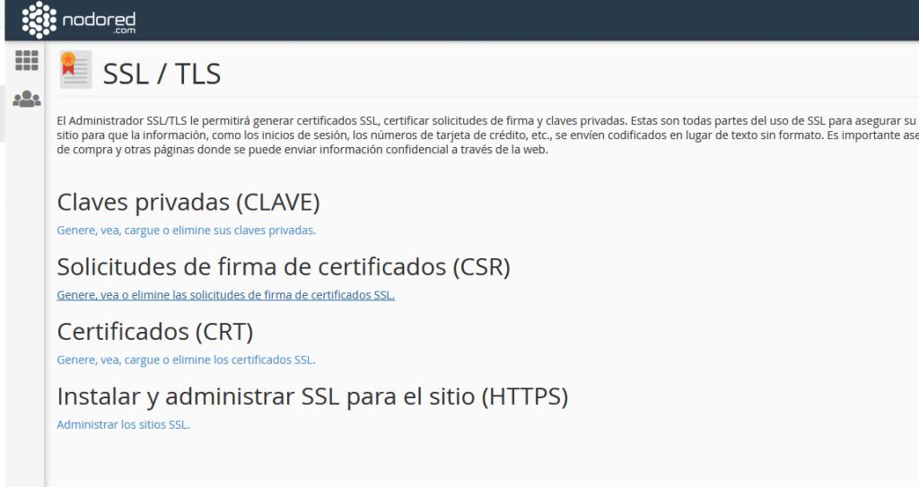 Administrar los sitios SSL en cPanel