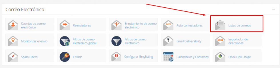 Icono de Listas de Correo en cPanel