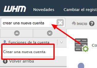 Crear una cuenta de hosting en WHM