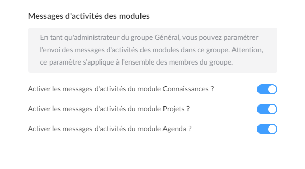 Disable module activities